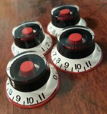 4 Guitar Top Hat volume/tone knobs 0-11.White/Red/Black. JAT CUSTOM GUITAR PARTS