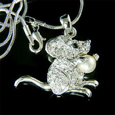 w Swarovski Crystal ~Gerbil MOUSE~ rat HAMSTER Chinchilla Pearl Pendant Necklace