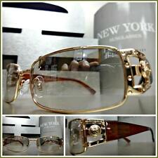 Men's VINTAGE RETRO Style Clear Lens slight Tint SUN GLASSES Gold & Brown Frame