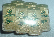 VINTAGE MINIATURE SCHLIYZ 6 PACK BEER CANS TIE TACK HAT LAPEL PIN IN GIFT BOX