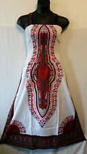 Women African Tradition Dashiki Print SunDress Kaftan Maxi Plus size White Red