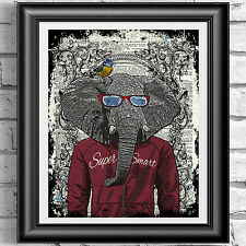 ART PRINT ON ORIGINAL DICTIONARY BOOK PAGE Hipster Animal Elephant DICTIONARY