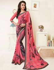 Stylist Multi Color Printed Chiffon Saree with a Blouse D.No MFK161