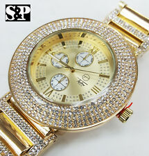 Men Hip Hop Gold Plated Iced Out Bling 5 Rows Lab Diamond Bezel Metal Band Watch