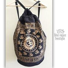 Fair Trade India Drawstring Black Cotton Canvas Gold OM Hippie Yoga Backpack