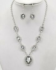 H6 Formal Bridal Prom NECKLACE EARRING SET Crystal Rhinestone Round Drop
