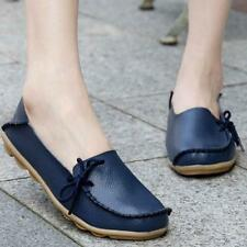 Women Leisure Leather Shoes Loafers Soft Slip On Flats Female Casual Shoes 39