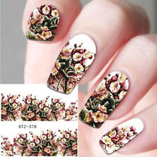 Nail Art Water Decals Stickers Decoration Winter Flowers Roses Gel Polish (378)