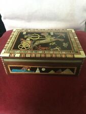 Art Deco Egyptian Themed Multi Colour Inlaid Wooden Box Soldiers,Chariots ++++