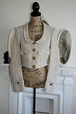 Burberry Woman Ivory Beige Loose Weave Cotton Wool 60s Style Jacket 8 10 Small