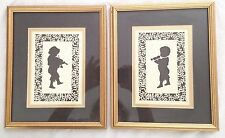 "Black 9X11"" Silhouette Children Musical Instruments Double Mat Picture -Set of 2"