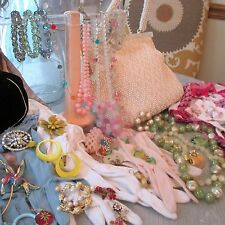 Lot of 53 Vintage Accessories! Jewelry, Rose Hat, Gloves, Scarves PINK Pastel