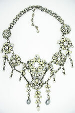 Vintage Austrian Haute Couture clear crystal faux pearl dangle Bib Necklace