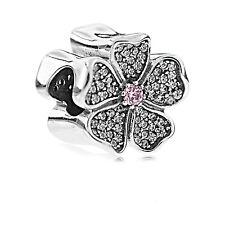 Genuine Pandora Silver Sparkling Apple Blossom Zirconia Charm 791831NBP Auth