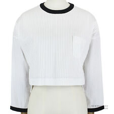 Thom Browne White Cotton Intricate Plisse Pleated Ringer Blouse Top Size 1 UK8
