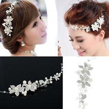 Haarschmuck Tiara Diadem Blumen Perlen Stirnschmuck Blüten Braut Strass Hochzeit