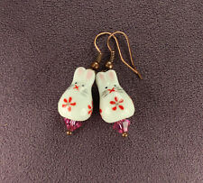 BUNNY RABBIT EARRINGS Totem Porcelain Pink Hearts Crystals Good Luck Love Copper