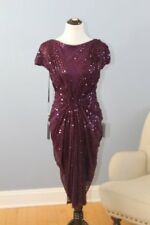 TADASHI SHOJI Sz S Small Wine Purple Ruched Sequined Gathered Mesh Dress NWT