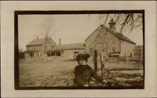 Boy & Farm House - Leominster MA Written on Back Real Photo Postcard