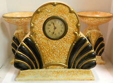 Vintage AMC Belgium Large Art Deco Mantle Set Clock & Candleholders Very Good
