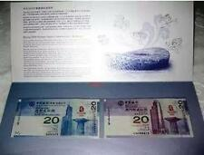 Pair Hong Kong Macau Olympic 2008 $20 banknote with folder (UNC) : Same 6 No.