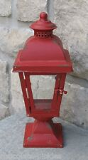 Farmhouse Christmas RED LANTERN Candle Holder*Primitive/French Country Decor