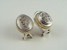 STUNNING COUTURE 14K YELLOW GOLD 925 STERLING SILVER DIAMOND EARRINGS OMEGA BACK