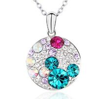 Round Pendant Necklace Set with Blue Zircon Swarovski Crystals & Rhodium Plating