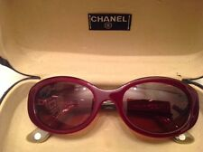 Classic Chanel Sunglasses Side Quilting Style 5023 Burgundy w Gold Line & Case