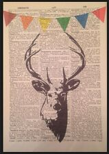 Vintage Stag Deer Head Print Antique Dictionary Page Art Picture Animal Bunting