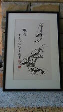 AFTER QI BAISHI CHINESE INK PAINTING ON PAPER OF SHRIMP&CALIGRAPHY,ARTIST SEAL