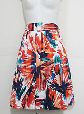 Ann Taylor Skirt Multi-Color Splash Belted Pleated A-Line Size 14