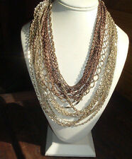 VINTAGE GOLD & COPPER TONE 21 CHAINS ASCENDING NECKLACE IN GIFT BOX