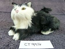 Dunhung Realistic Black/White Cat Kitten 6.5 Inch Laying Real Rabbit Fur CT9916