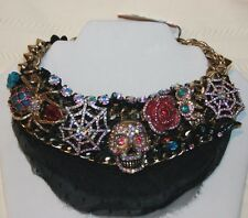 "BETSEY JOHNSON ""Creep Show"" necklace Skull Spider Web Owl black lace nwt $145"