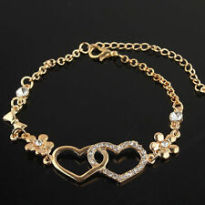 Women 14k Gold Filled Austrian Crystal Heart Flower Chain Bracelet Bangle JD1826
