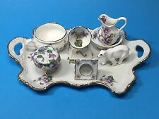 Limoges Wild Violet Miniature Porcelain China Tea Set France Flowers Vintage