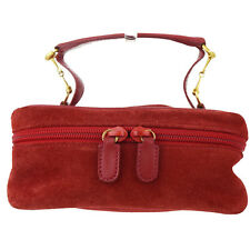 Authentic GUCCI Cosmetics Pouch Vanity Hand Bag Suede Leather Red Italy 06Y482
