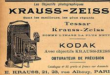 PARIS RUE ALBOUY OBJECTIFS PHOTOGRAPHIQUES KRAUSS ZEISS PUBLICITE 1905