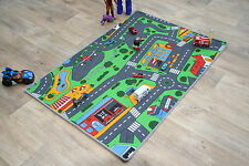 Children's Rug 133cm x 95cm Road Map Rug Play Time Racing Cars Kids Bedroom Mat