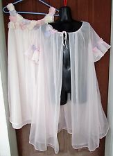 Vtg Pink 2 pc Peignoir Mini Babydoll Nightgown/Robe Full Swing Lingerie Warner's