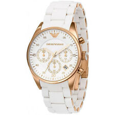 NEW EMPORIO ARMANI AR5919 WHITE ROSE GOLD MENS WATCH - 2 YEAR WARRANTY