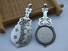 10 x Antique Silver Violin 25mm Round Pendant Trays Blank Bezel Cabochon Setting