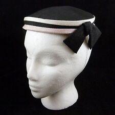 Vintage ~1940s Black White Pink Striped Women's Calot Cap Hat w/ Bows Clips Pin