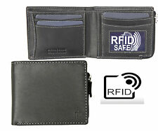 Prime Hide Outback Mens RFID SAFE  Black Leather Wallet with Zip Coin Purse NEW