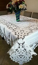 Elegantlinen Embroidery Cutwork Tablecloth with Napkins *ALL SIZES Available
