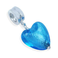 925 Sterling Silver Heart Blue Murano Glass Dangle Threaded European Charm Bead