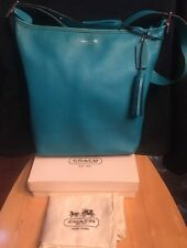 Coach 19889 Blue Turquoise Leather Legacy Duffle Crossbody Hobo Tassels+dust Bag