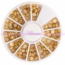 120pcs Glitters 3D Gem Stone White Pearls Nail Art Phone Edge Gold Decor Wheel