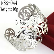 Fashion Jewelry Stainless steel Silver Hollow Flower Women Cuff Bangle Bracelet